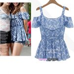 Fedoras Off The Shoulder Top – Blue White Flowers / Ruffle