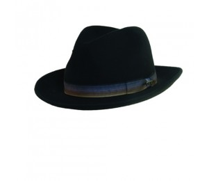 Scala Crushable Wool Felt Fedora Hat - Multi-Tone Ribbon