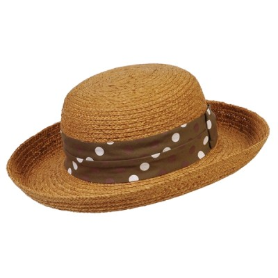 Conner Ladies Polka Dot Band Raffia Sun Hat
