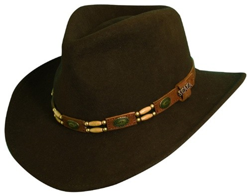 e88ff12c Scala Crushable Wool Felt Outback Hat with Conchos
