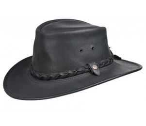 BC Hats Bac Pac Traveller Oily Leather Outback Hat - Black - S