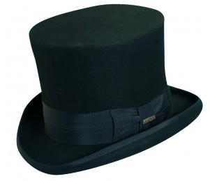 Scala Premium Wool Felt Mad Hatter Top Hat - Black - S