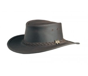 BC Hats Bush Walker Oily Leather Outback Hat - Brown - S