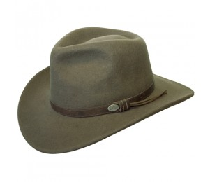 Conner Wool Felt Crushable Aussie Outback Hat - Loden Green - L