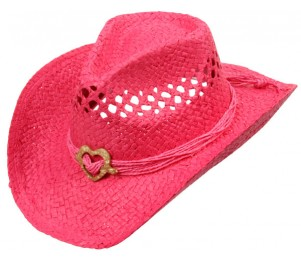 Toyo Straw Cowyboy Hat with Heart Charm