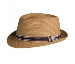 Conner Fine Sewn Paper Braid Porkpie - Tan - S/M