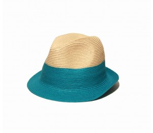 Physician Endorsed Jackie G Women's Fedora Sun Hat - Natural/Turquoise - One Size Fits Most