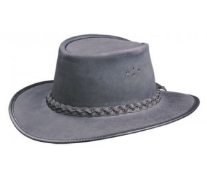 BC Hats Swagman Oily Leather Outback Hat - Black - M