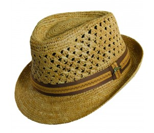 Tommy Bahama Crocheted Raffia Fedora - Tea - L/XL