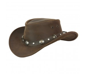 Conner Buffalo Nickel Packable Leather Outback Hat
