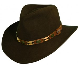 Scala Crushable Wool Felt Outback Hat with Conchos