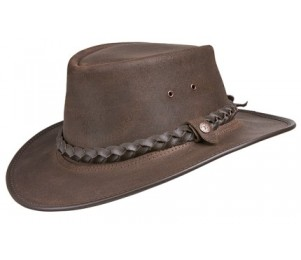 BC Hats Bac Pac Traveller Oily Leather Outback Hat - Brown - L